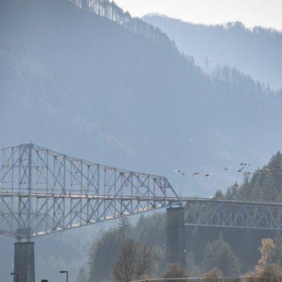 Bridge spanning river with mountains in the background