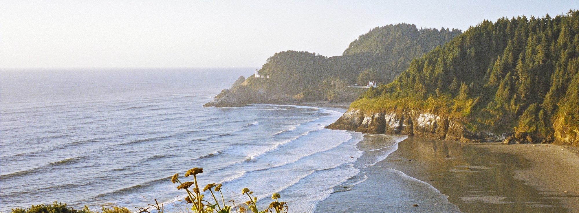 The view from the Pacific Coast Scenic Byway north of Florence. Heceta Head Lighthouse is in the distance. Photographer: