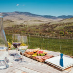 Table set with food and wine with a view of Roberts Vinyard and hills.