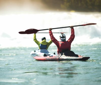 Photo of two kayakers on the Willamette River