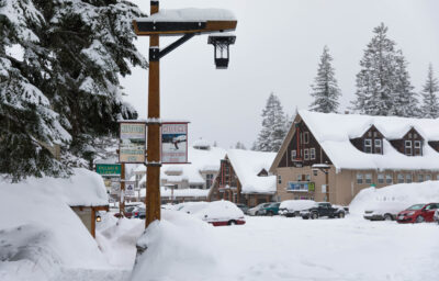 Snowy image of Mt. Hood businesses.