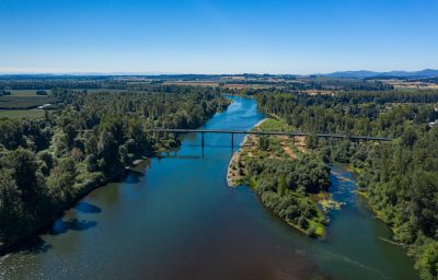 Birds eyes view of the Willamette River.