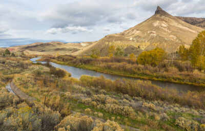 mountain and river in fall